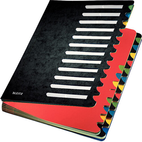 Leitz Colour Desk Organiser Tabbed Folder 24 Tabs Black