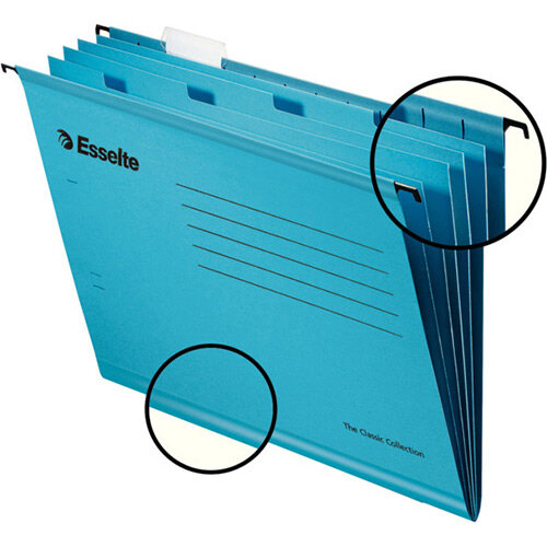 Esselte Classic Reinforced Suspension Files with Dividers A4 Blue Pack of 10
