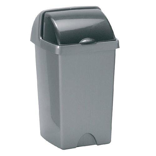 Addis Roll Top Plastic Waste Bin 25 Litres Metallic Grey 510679/510694