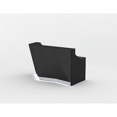 ALPA Straight Reception Desk with Black Glass Front and Right Curve End W1835xD946xH1100mm