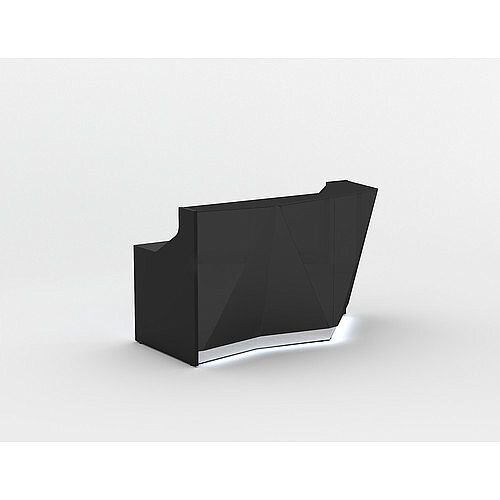 ALPA Straight Reception Desk with Black Glass Front and Left Curve End W1835xD946xH1100mm