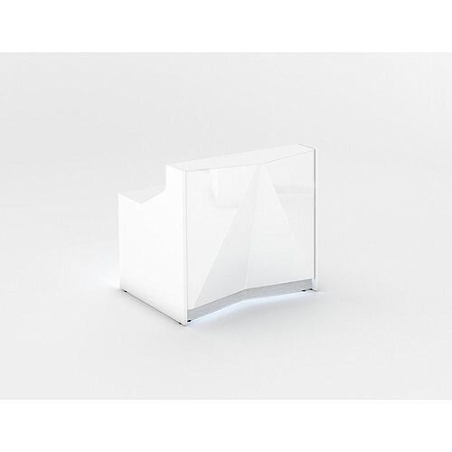 ALPA Small Straight Reception Desk with White Glass Front W1256xD946xH1100mm