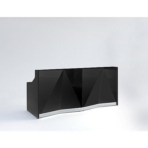 ALPA Straight Reception Desk with Black Glass Front W2456xD946xH1100mm