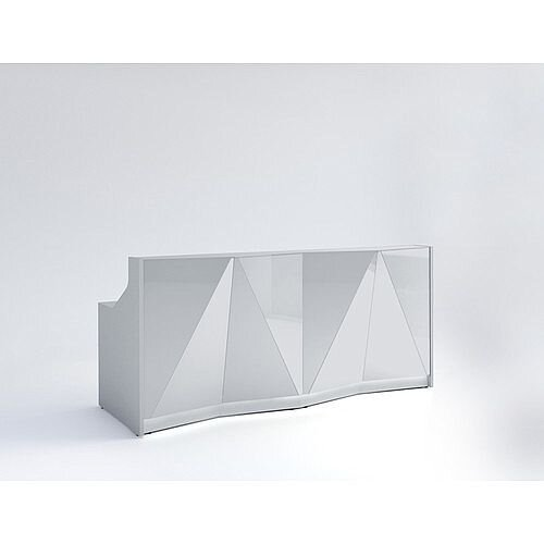 ALPA Straight Reception Desk with Silver Glass Front W2456xD946xH1100mm