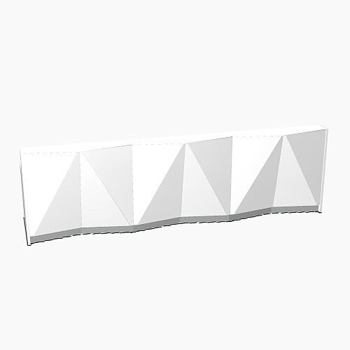 ALPA Straight Reception Desk with White Glass Front W3656xD946xH1100mm