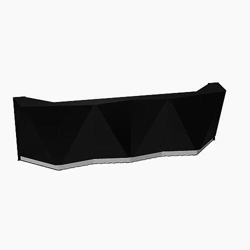 ALPA Straight Reception Desk with Black Glass Front W3613xD946xH1100mm