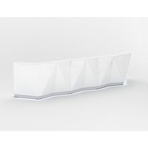 ALPA Straight Reception Desk with White Glass Front W4813xD946xH1100mm
