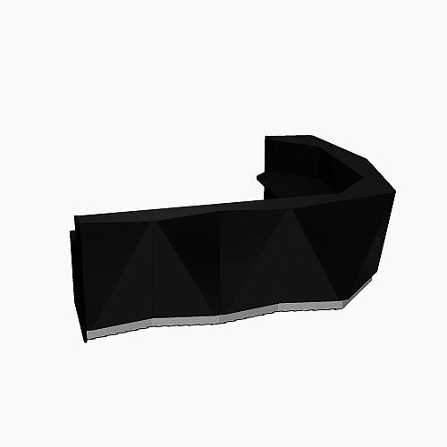 ALPA Curved Reception Desk with Black Glass Front and Left Return W3135xD2514xH1100mm