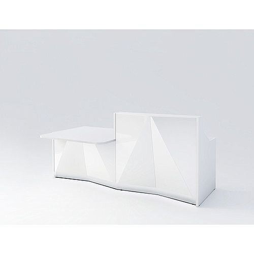 ALPA Straight Reception Desk with White Glass Front &Right Low Level Section W2456xD1200xH1100mm