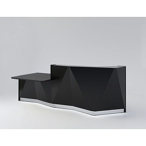 ALPA Straight Reception Desk with Black Glass Front &Right Low Level Section W3034xD1200xH1100mm