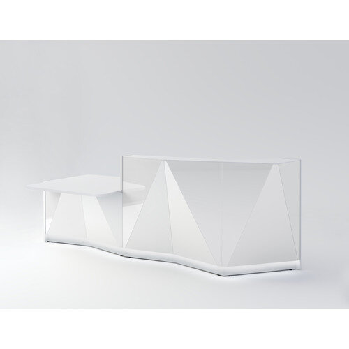 ALPA Straight Reception Desk with White Glass Front &Right Low Level Section W3034xD1200xH1100mm