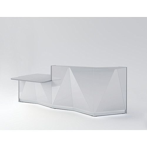 ALPA Straight Reception Desk with Silver Glass Front &Right Low Level Section W3034xD1200xH1100mm