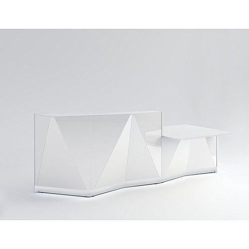 ALPA Straight Reception Desk with White Glass Front &Left Low Level Section W3034xD1200xH1100mm
