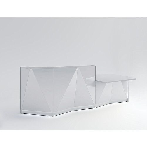 ALPA Straight Reception Desk with Silver Glass Front &Left Low Level Section W3034xD1200xH1100mm