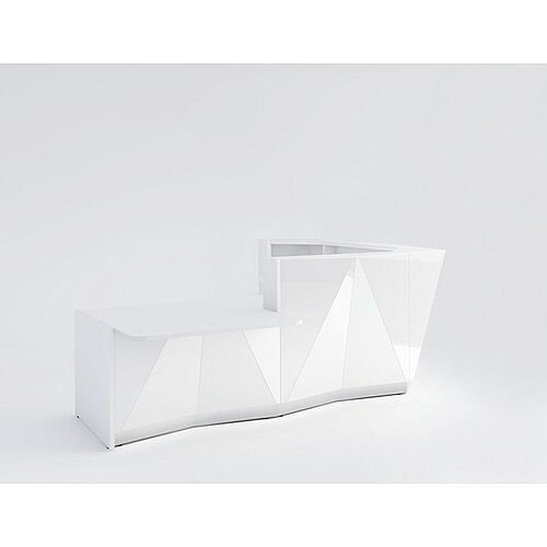 ALPA L Shaped Reception Desk with White Glass Front &Right Low Level Section W3135xD2767xH1100mm