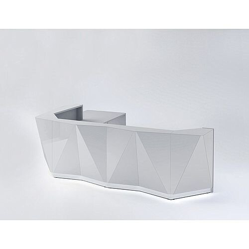 ALPA L Shaped Reception Desk with Silver Glass Front &Right Low Level Section W3967xD3135xH1100mm
