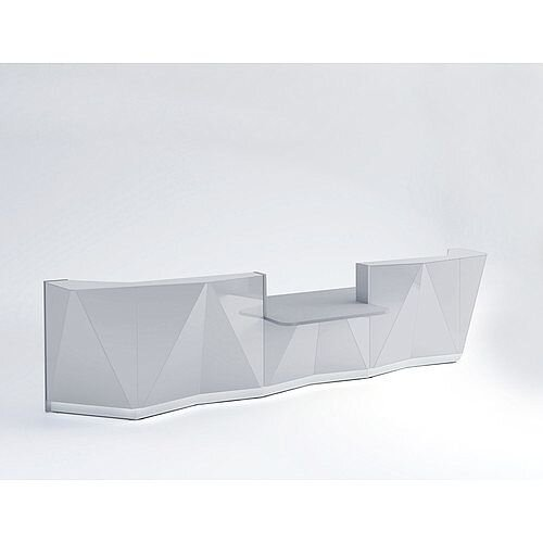 ALPA Straight Reception Desk with Silver Glass Front &Central Low Level Section W4813xD1200xH1100mm