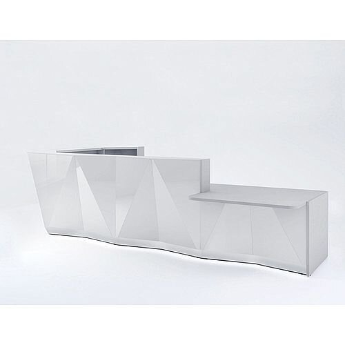 ALPA L Shaped Reception Desk with Silver Glass Front &Left Low Level Section W4335xD2767xH1100mm