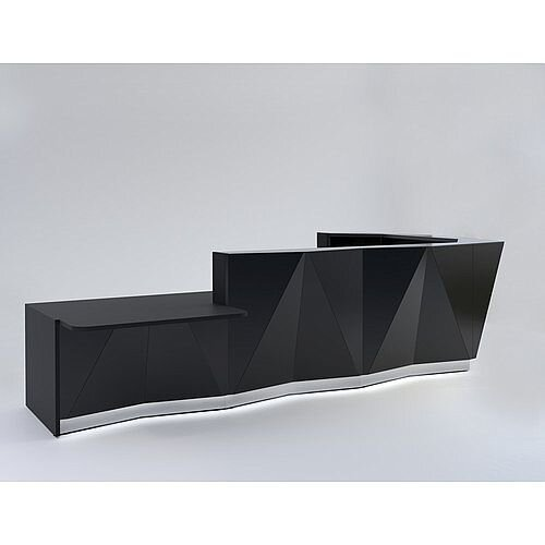 ALPA L Shaped Reception Desk with Black Glass Front &Right Low Level Section W4335xD2767xH1100mm