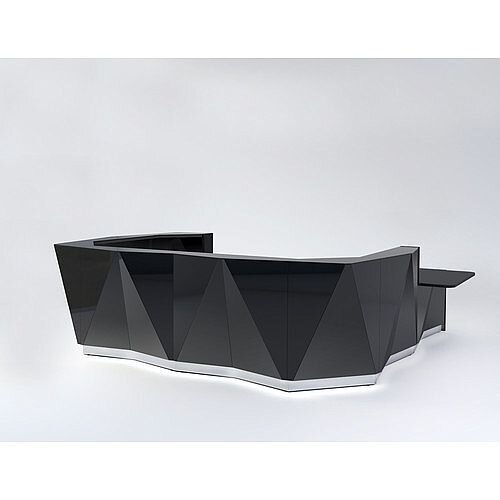 ALPA U Shaped Reception Desk with Black Glass Front &Left Low Level Section W4069xD3135xH1100mm