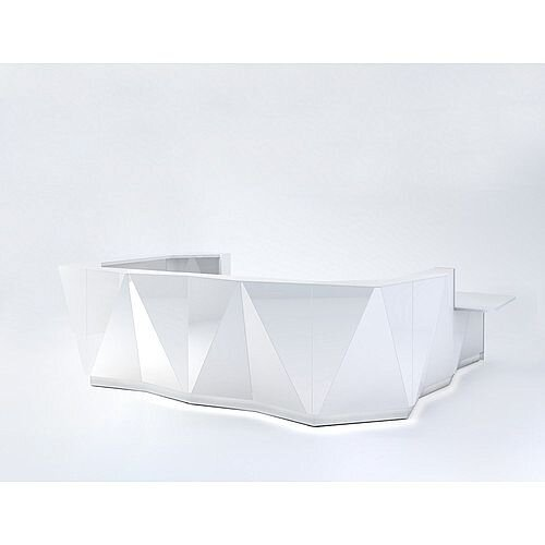 ALPA U Shaped Reception Desk with White Glass Front &Left Low Level Section W4069xD3135xH1100mm