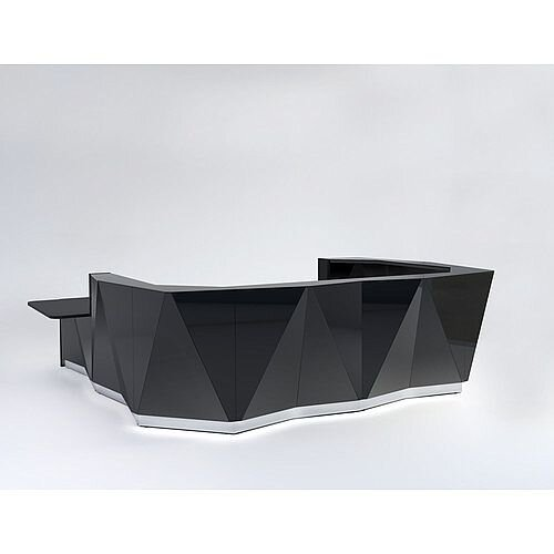 ALPA U Shaped Reception Desk with Black Glass Front &Right Low Level Section W4069xD3135xH1100mm