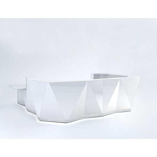 ALPA U Shaped Reception Desk with White Glass Front &Right Low Level Section W4069xD3135xH1100mm