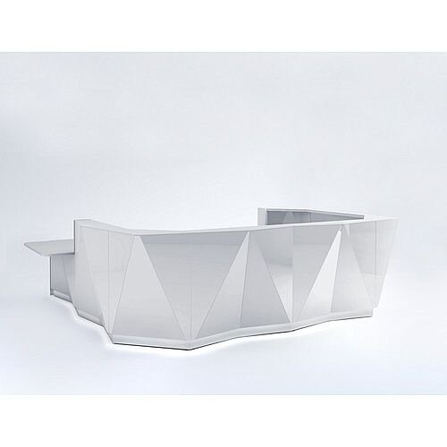 ALPA U Shaped Reception Desk with Silver Glass Front &Right Low Level Section W4069xD3135xH1100mm