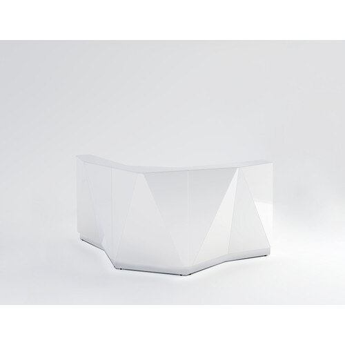 ALPA Curved Reception Desk with White Glass Front W1907xD1907xH1100mm