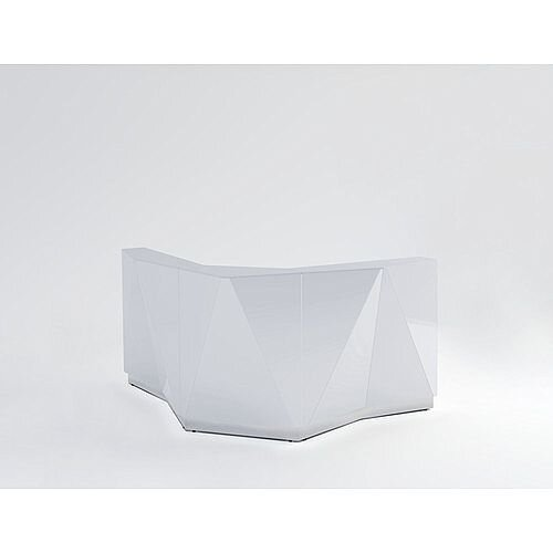 ALPA Curved Reception Desk with Silver Glass Front W1907xD1907xH1100mm