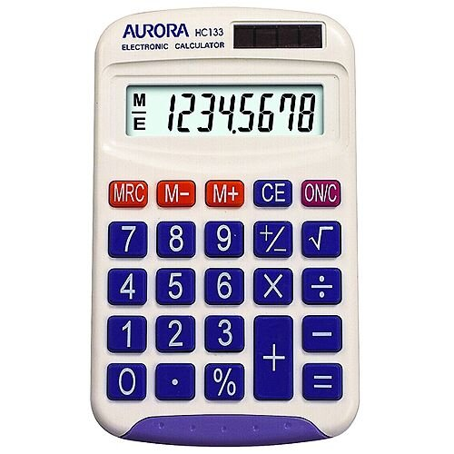 Aurora Handheld Calculator Battery Solar-power 8 Digit HC133