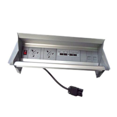 Algar Aero-Flip In Desk Unit 2 X UK Socket Power - 2 X Cat6 Coupler Data With RC (Each)