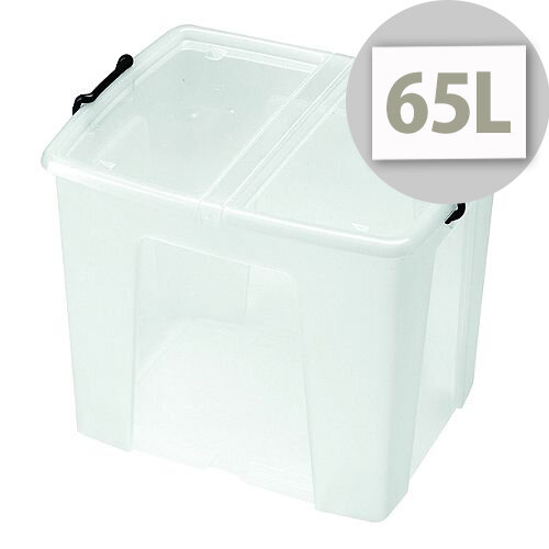 Strata Smart Storage Box Clear 65 Litre With Integrated Handles For Easier Carrying. Box Is Stackable Or Optionally Nested When Empty. Ideal For Warehouses, Offices, Schools, Domestic Use &More.