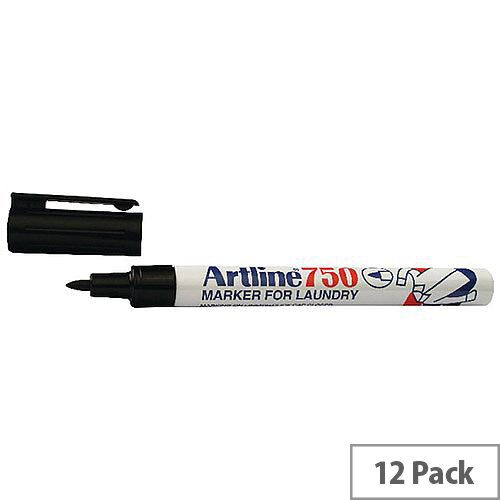 Artline Laundry Marker Black Pack of 12 750