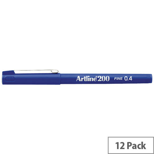 Artline 200 Blue 0.4mm Tip Pen Pack of 12