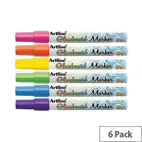 Artline Glass Board Marker Wallet Assorted Colours 6 Pack
