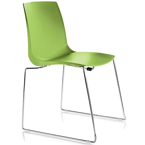 ARI Green Sled Base Canteen Stacking Chair