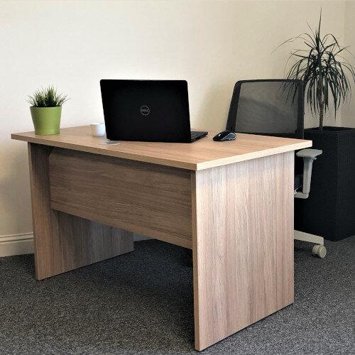 Home Office Ashford Desk W1200xD700mm 25mm Desktop Panel Legs Urban Oak