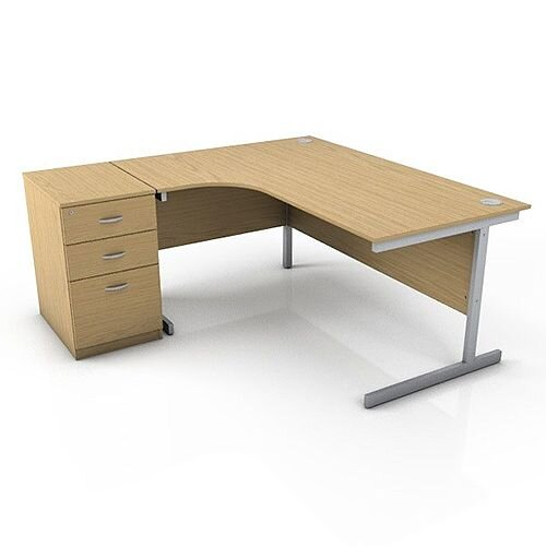 Ashford 1600mm Left Hand Radial Office Desk Metal Leg With
