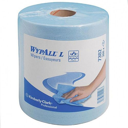 Kimberly-Clark Wypall Wipers Centre Feed Cleaning Paper Rolls 2-Ply Blue 7302