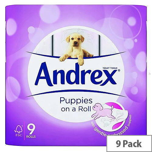 Andrex Pups Bathroom Tissue Toilet Paper Rolls White 9 Pack 4978748