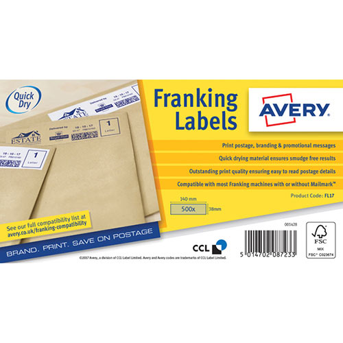 Avery Franking Label QuickDRY 140x38mm 1 Per Sheet Kraft Brown Pack of 500 FL17