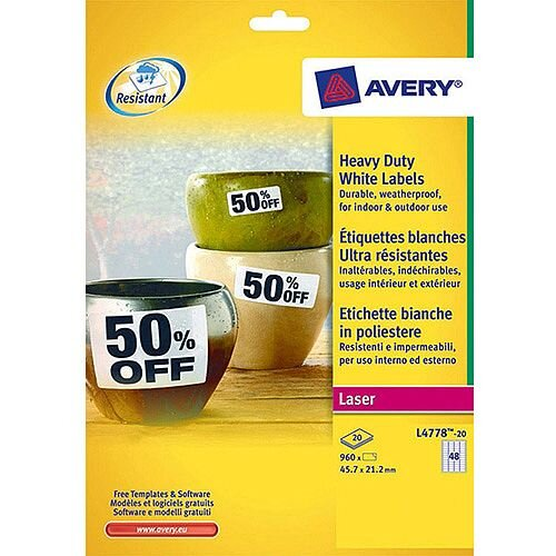 Avery Laser Label 45.7x21.2mm Heavy Duty 48 per Sheet Pack of 20 White L4778-20