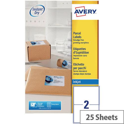 Avery White Quickdry Inkjet  2 Per Sheet (Pack of 50)