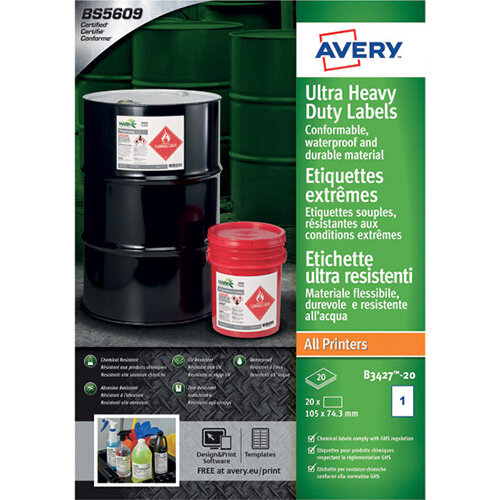 Avery Ultra Resistant Labels 74x105mm Pack of 160 B3427-20