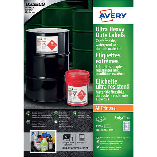 Avery Ultra Resistant Labels 38x21mm Pack of 1300 B7651-20