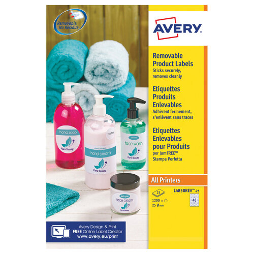 Avery Removable Labels Round 25mm White Pack of 1200 L4850REV-25