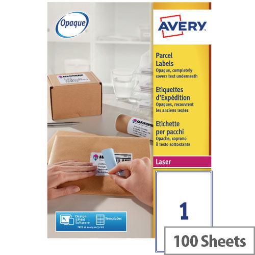 Avery White Laser Parcel Labels 199.6 x 289.1mm 1 Per Sheet Pack of 100