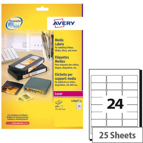 Avery Laser Label 24 Per Sheet Pack Of 25 L7665 25 Huntoffice