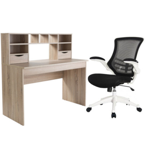 Alphason Office Albion Light Oak Panel Desk &Executive High Back Mesh OP Office Chair White
